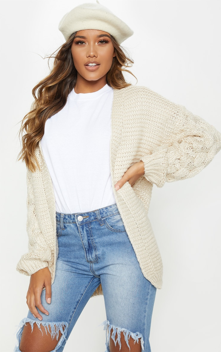 Cream Contrast Knit Cardigan 1