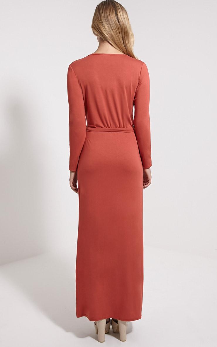 Pennie Rust Wrap Front Maxi Dress 2