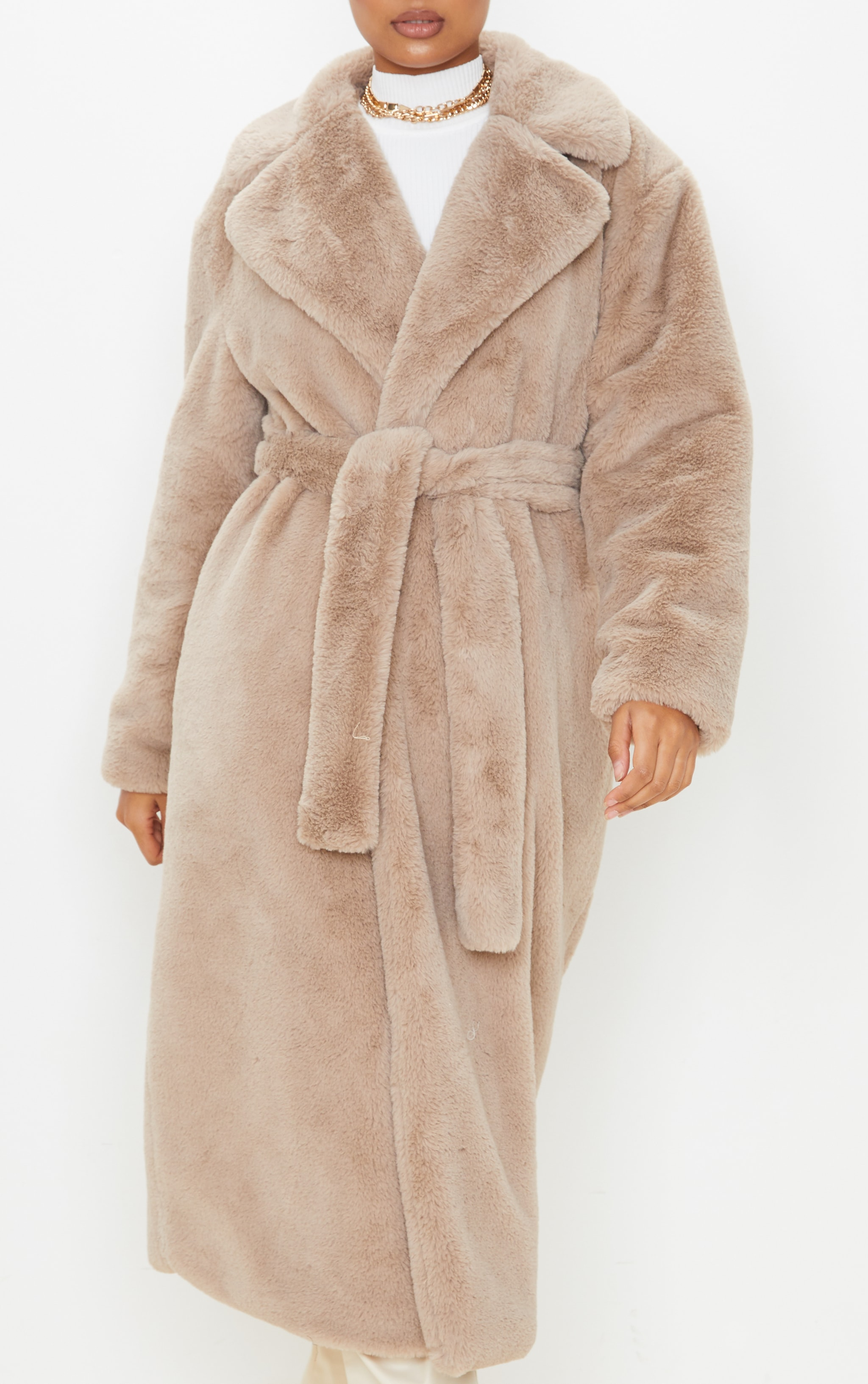 Taupe Belted Faux Fur Coat  6
