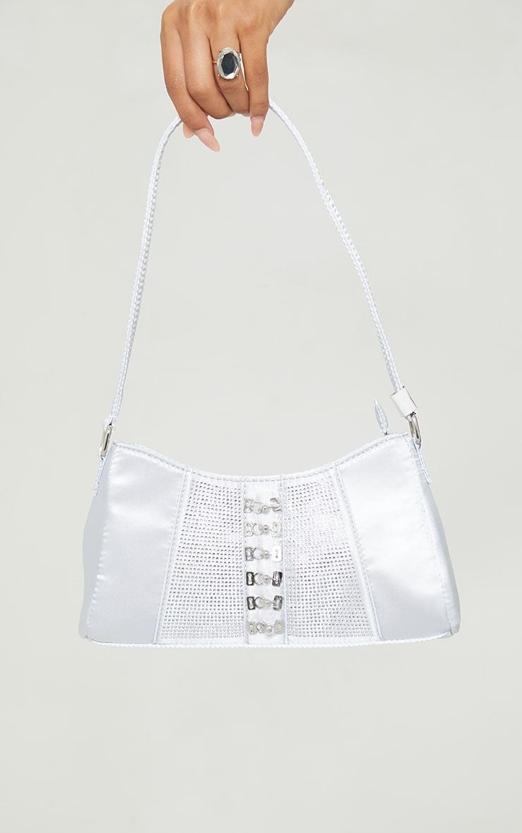 Silver Diamante Buckle Front Shoulder Bag 1