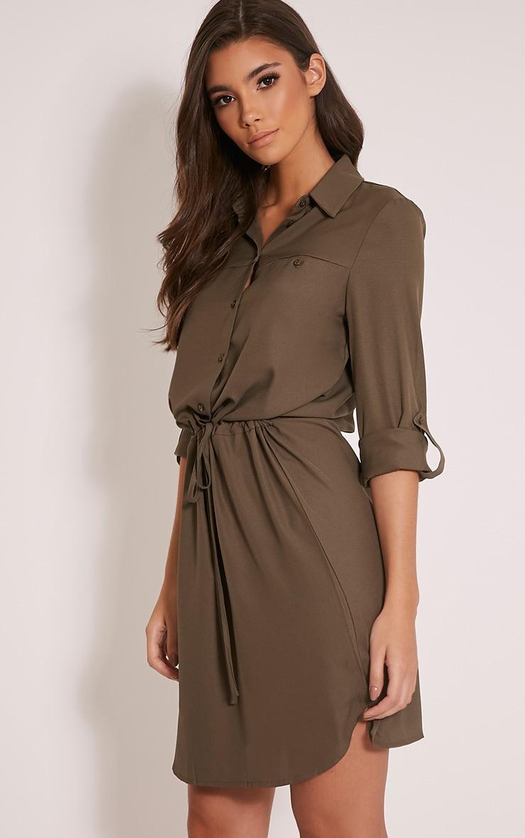 Madalie Khaki Tie Waist Shirt Dress 4