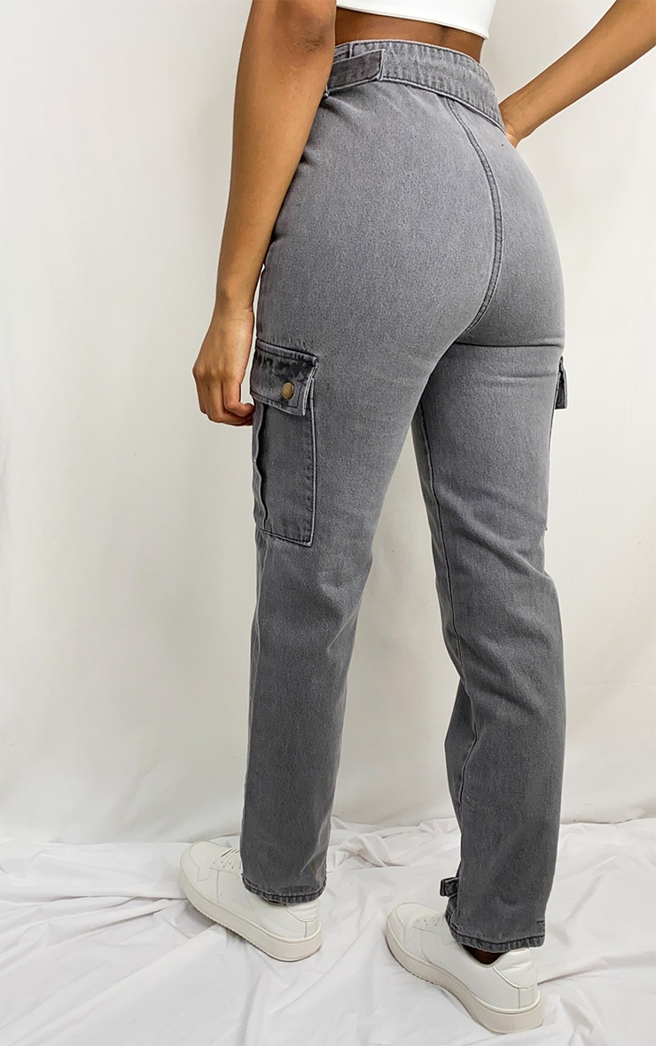 Washed Grey Cargo Pocket Asymmetric Belt Boyfriend Jeans 3