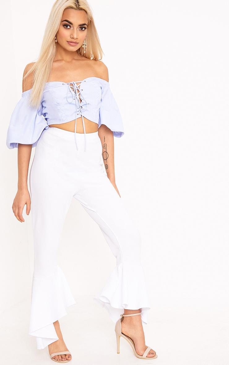 Blue Lace Up Oversized Sleeve Crop Bardot Shirt 4