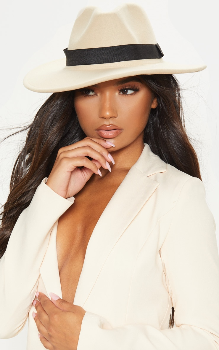 White Basic Fedora Hat 1