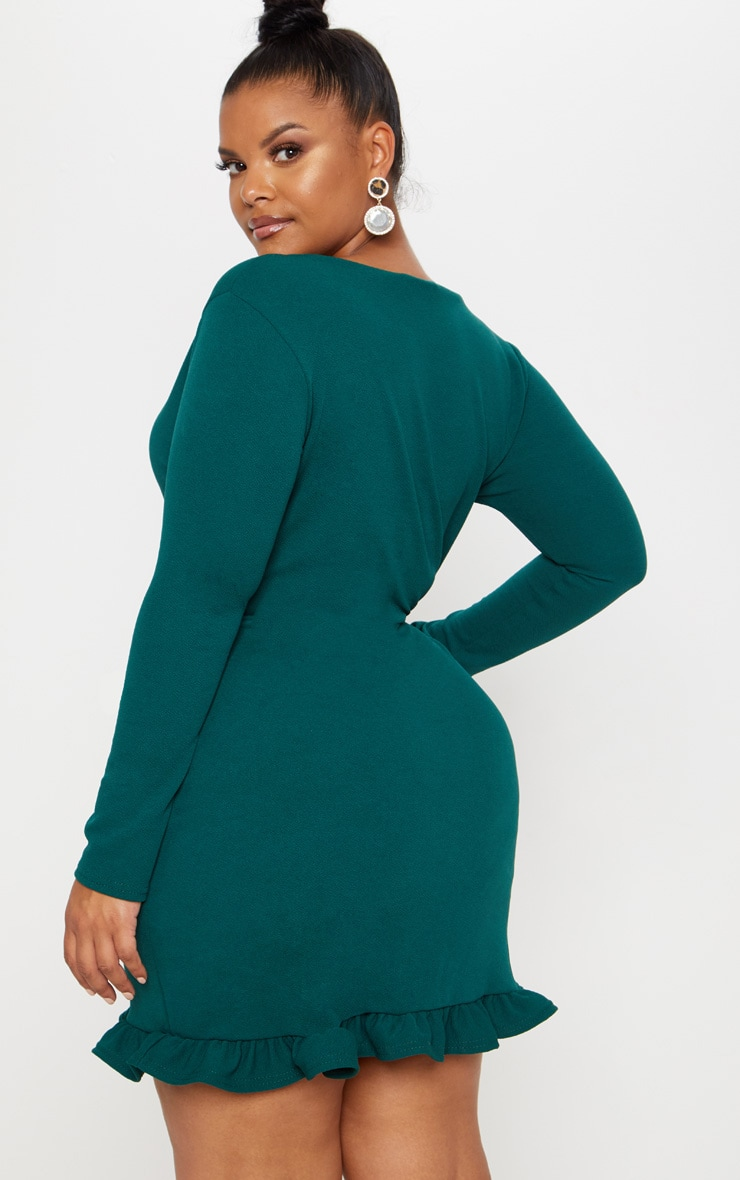 Plus Emerald Green Ruffle Detail Wrap Dress 2