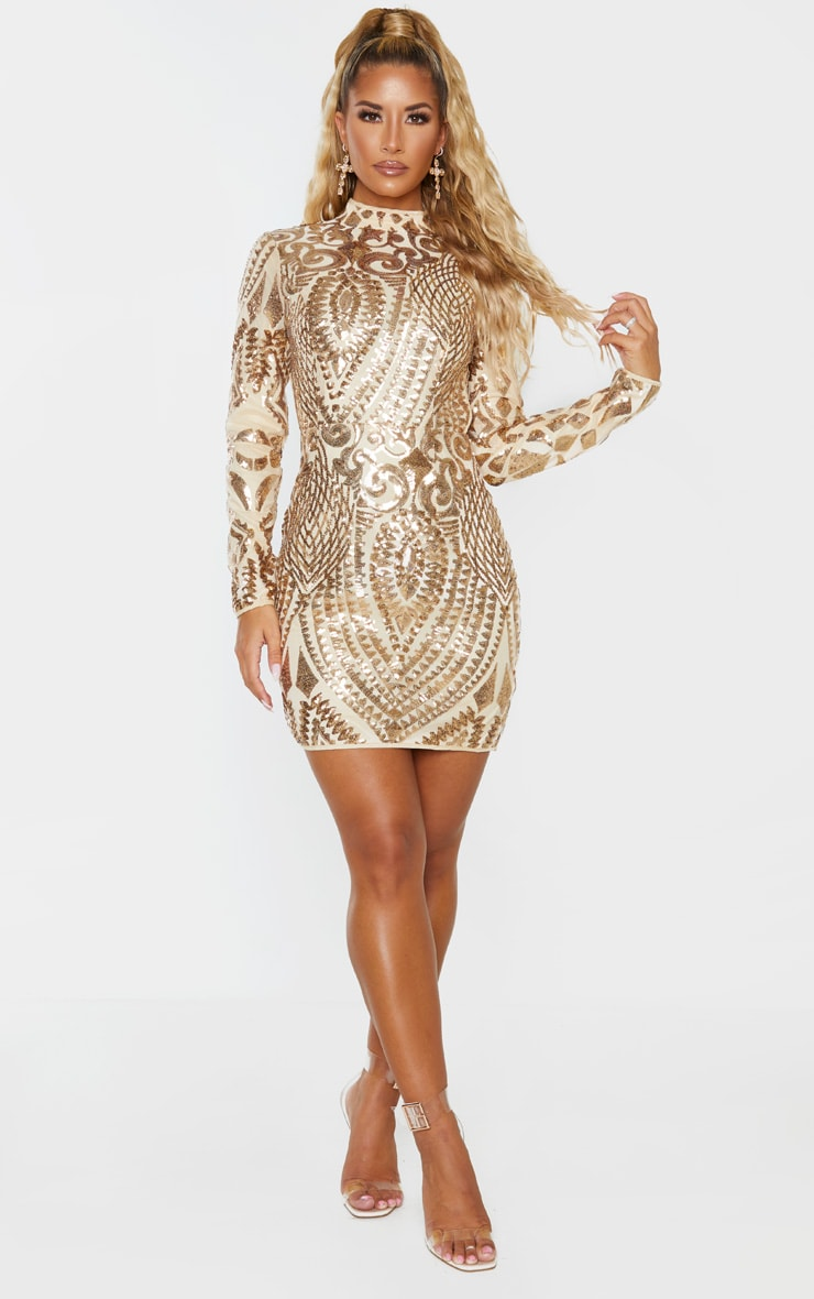 Gold Sequin Patterned Open Back Bodycon Dress 1