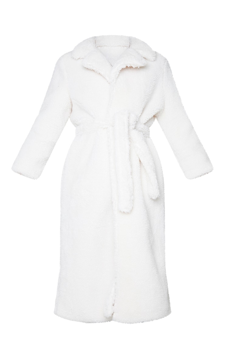 Cream Long Teddy Faux Fur Belted Coat 5