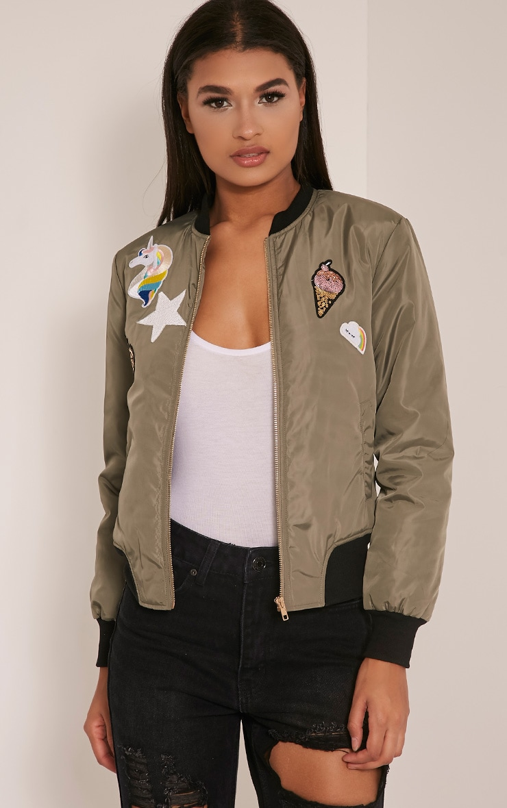 Charleene Khaki Sequin Applique Patch Bomber Jacket 1