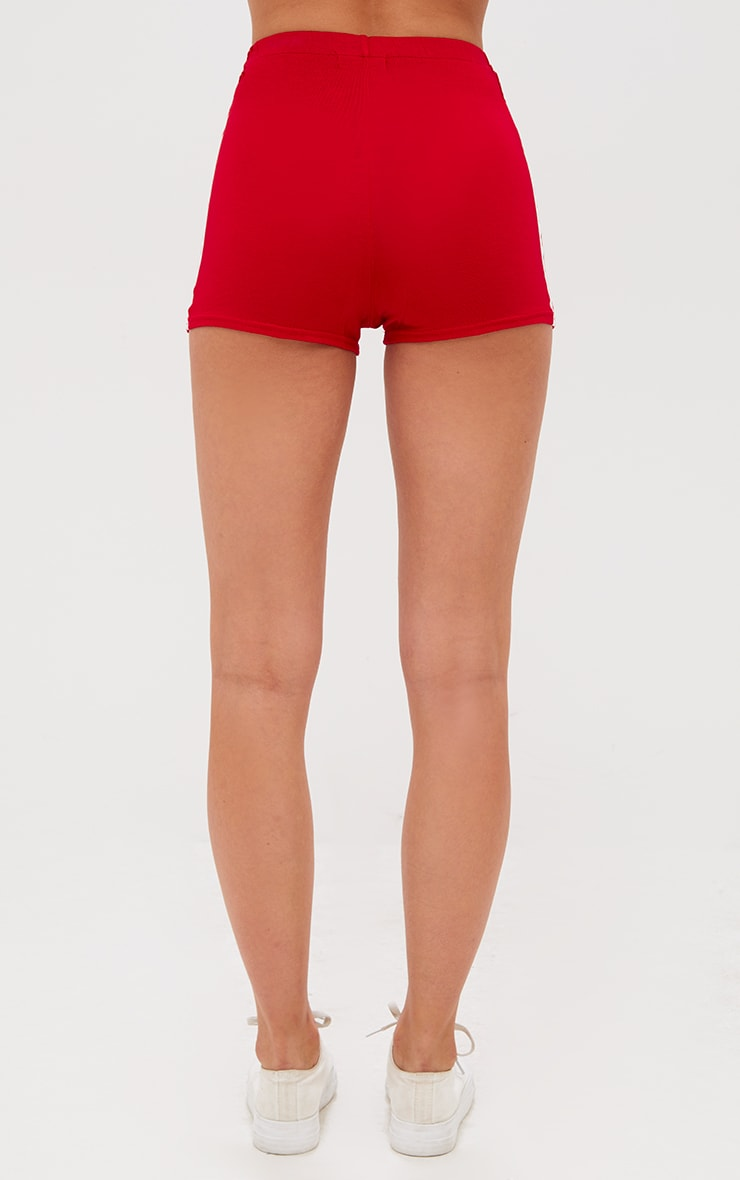 Red Contrast Stripe Track Shorts 4