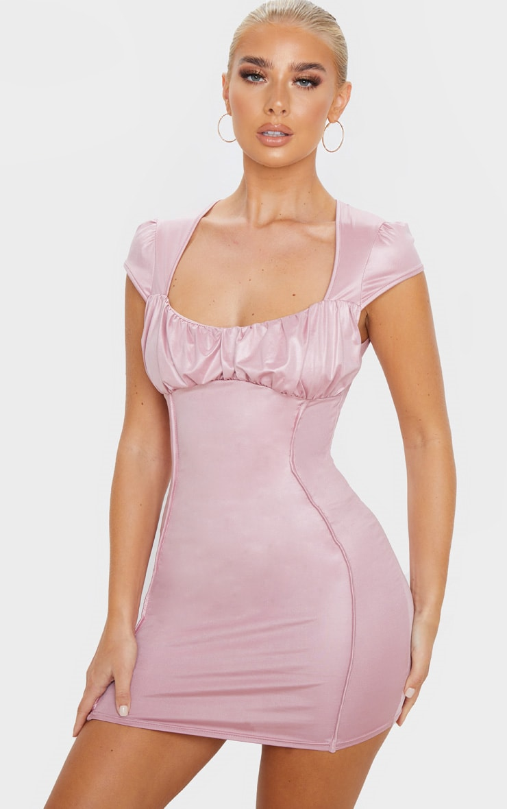 Rose Metallic Slinky Ruched Bust Bodycon Dress 1
