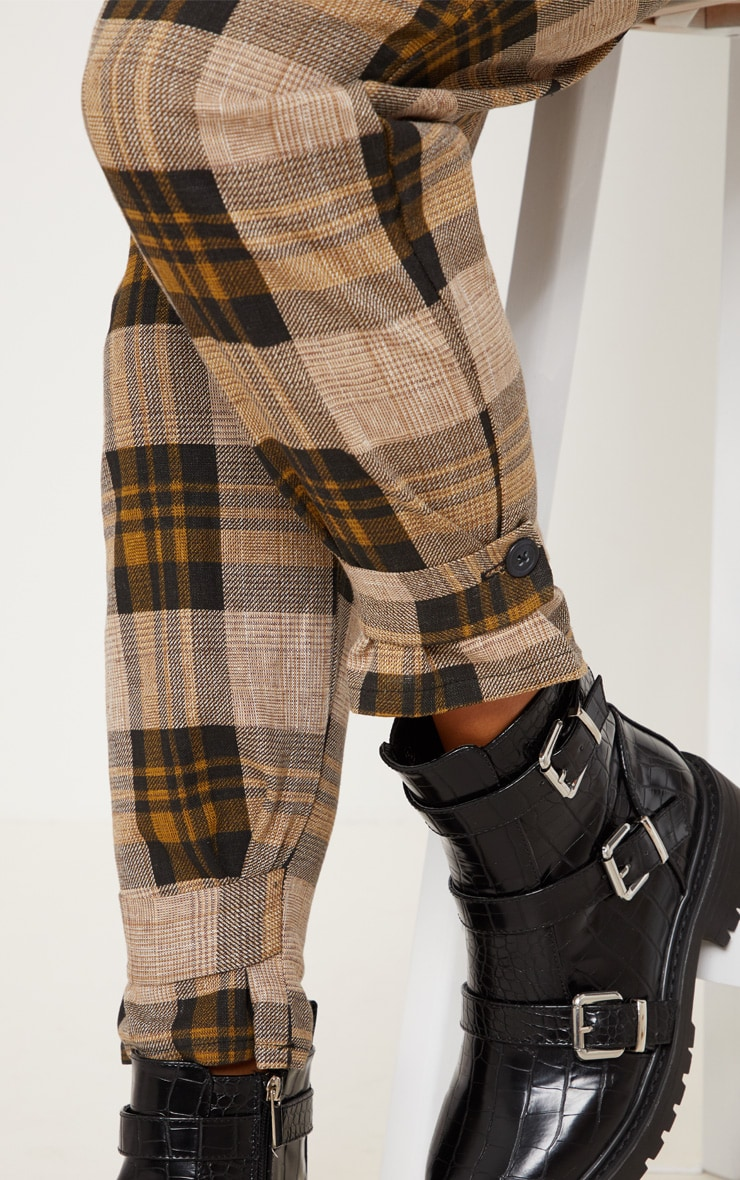 Brown Check Peg Leg Trousers 5