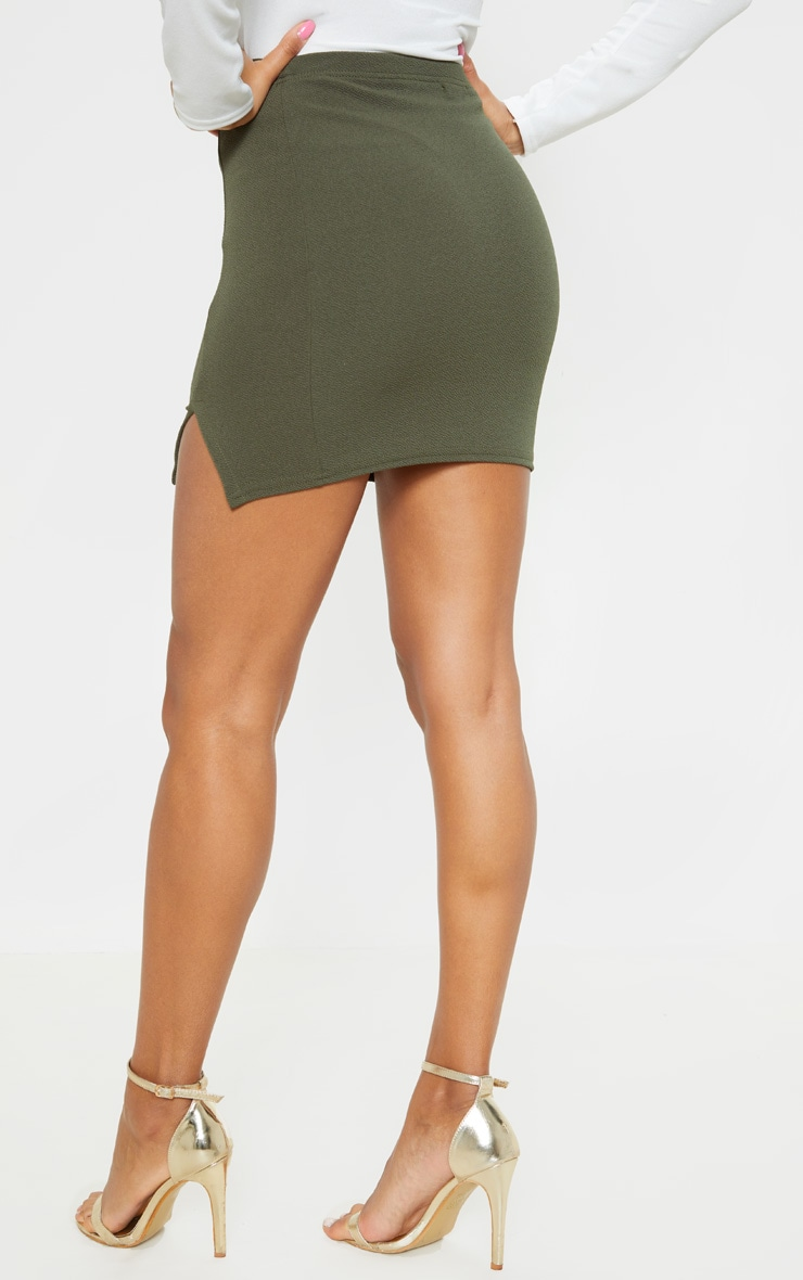 Jemmia Khaki Split Mini Skirt  5