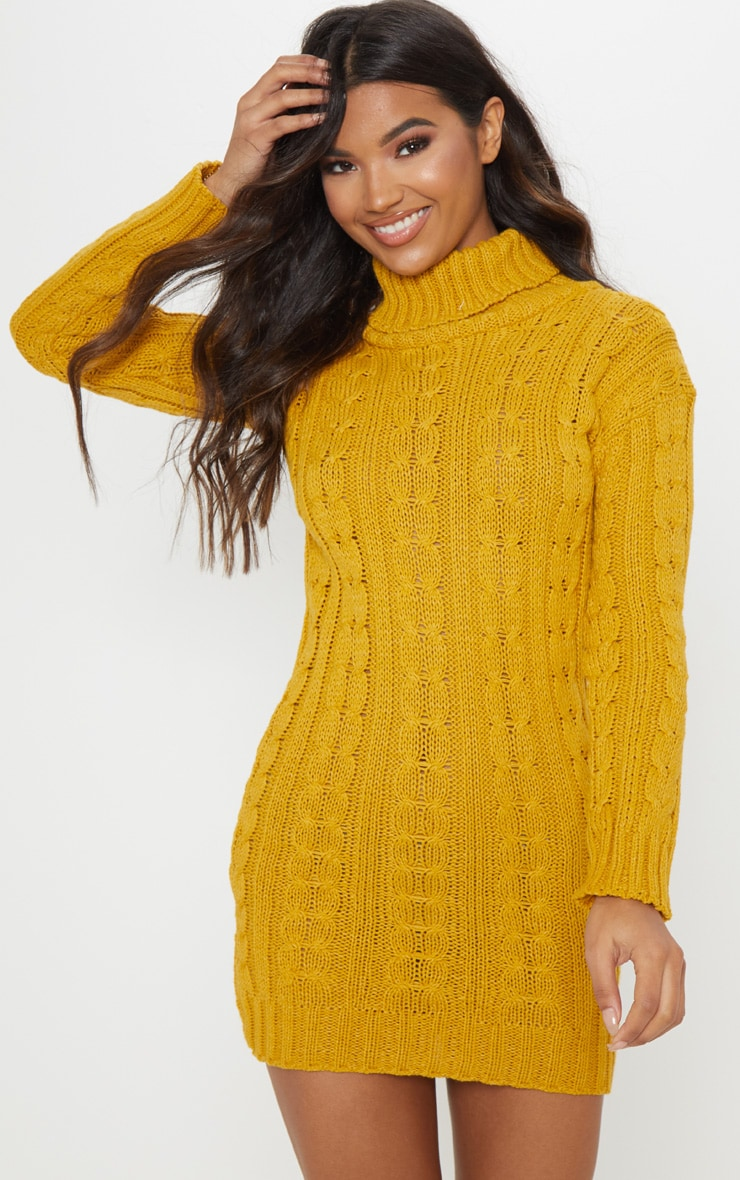 Mustard Cable Knit High Neck Jumper Dress