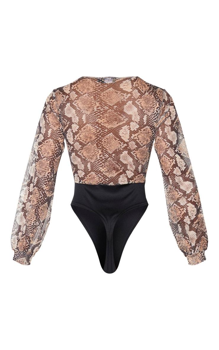 Nude Mesh Snake Print Caged Detail Bodysuit 6