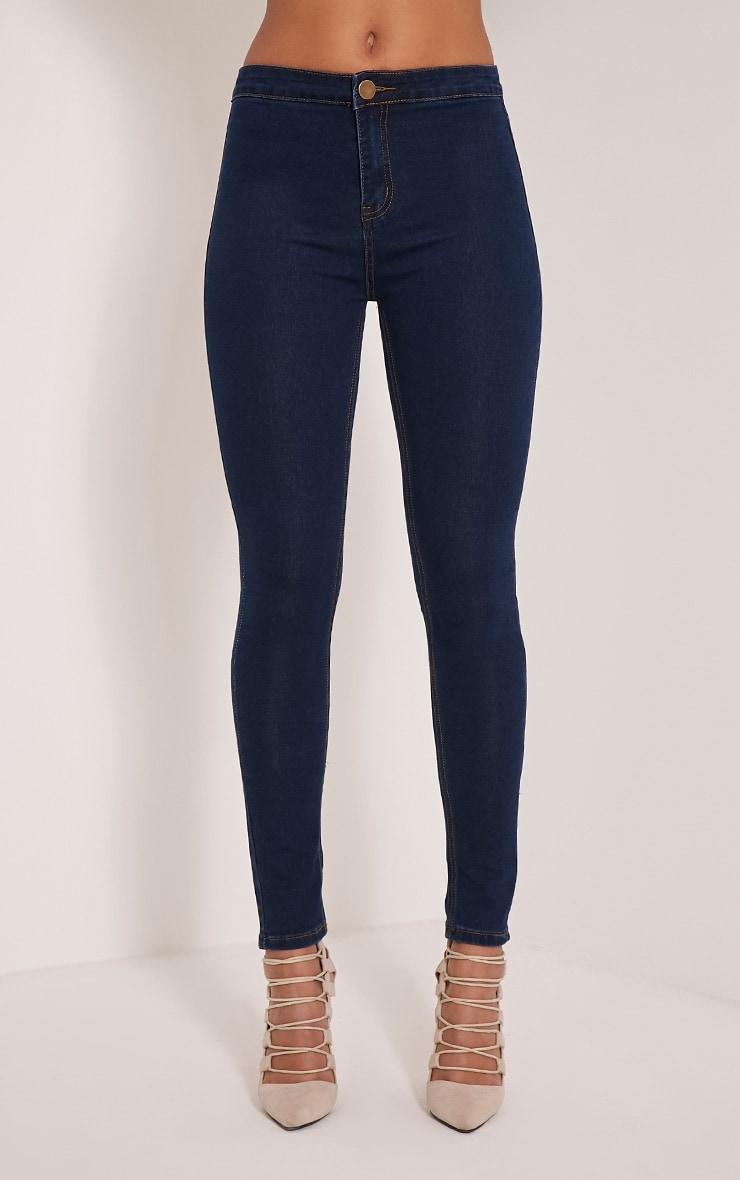 Dark Blue Wash High Waisted Skinny Jeans 2