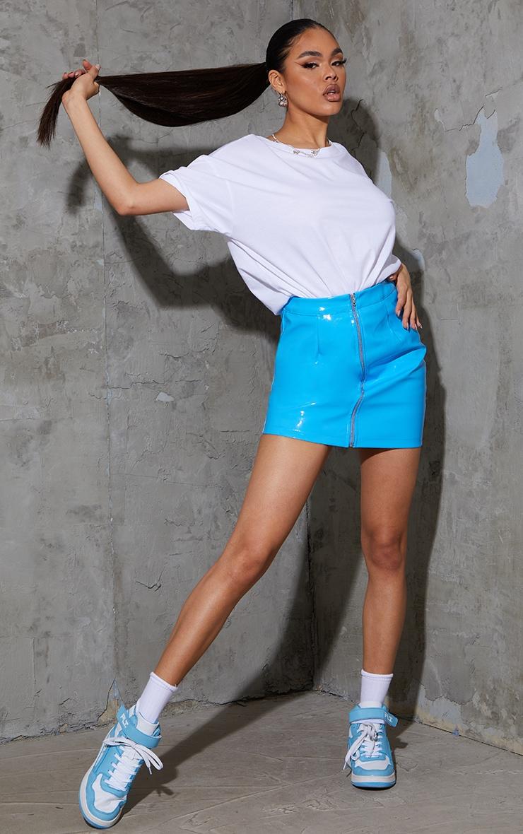 Bright Blue Vinyl Mini Skirt 1