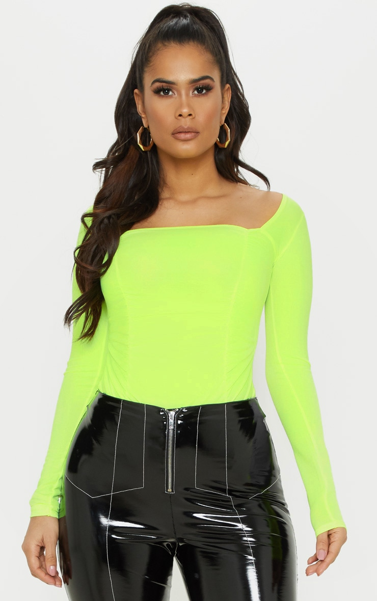 Neon Yellow Ruched Long Sleeve Bodysuit 1