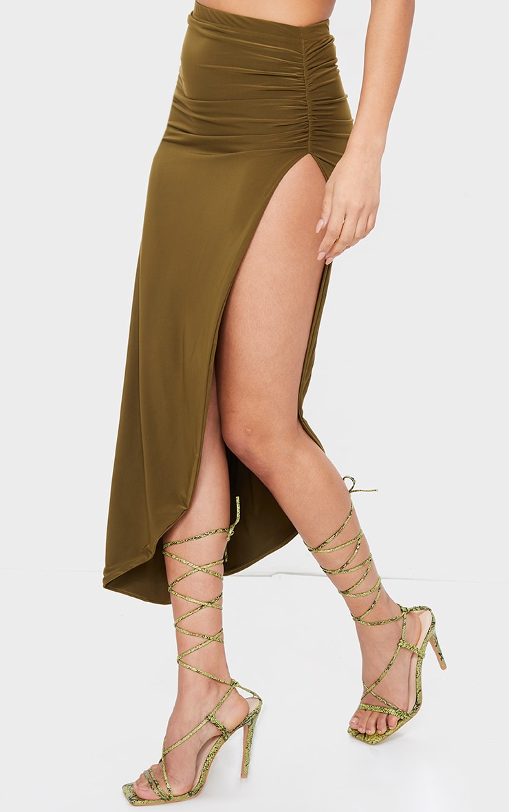 Khaki Slinky Ruched Side Split Split Midaxi Skirt 2
