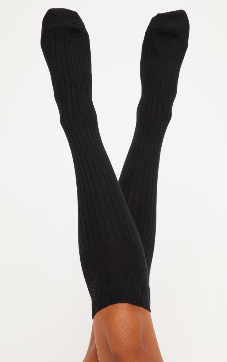Black Knee High Football Socks 2