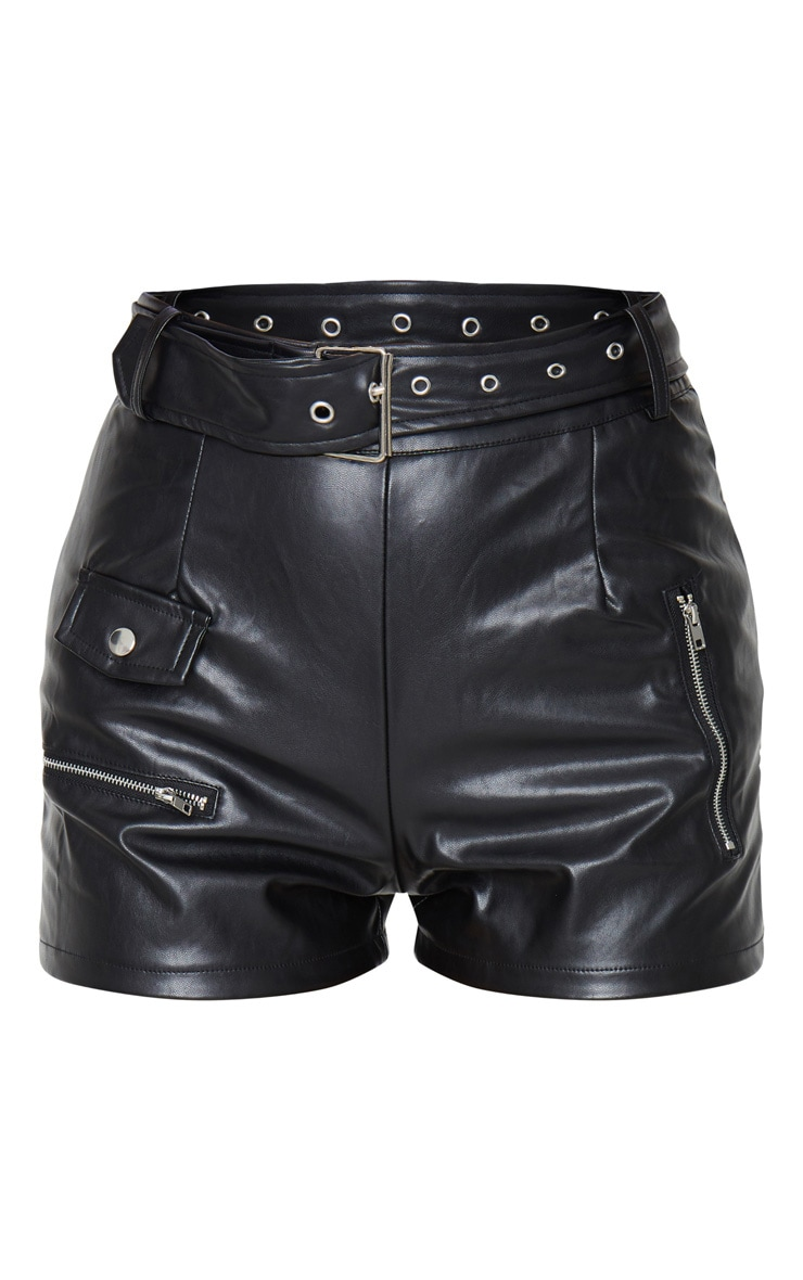 Black Faux Leather Biker Short 6