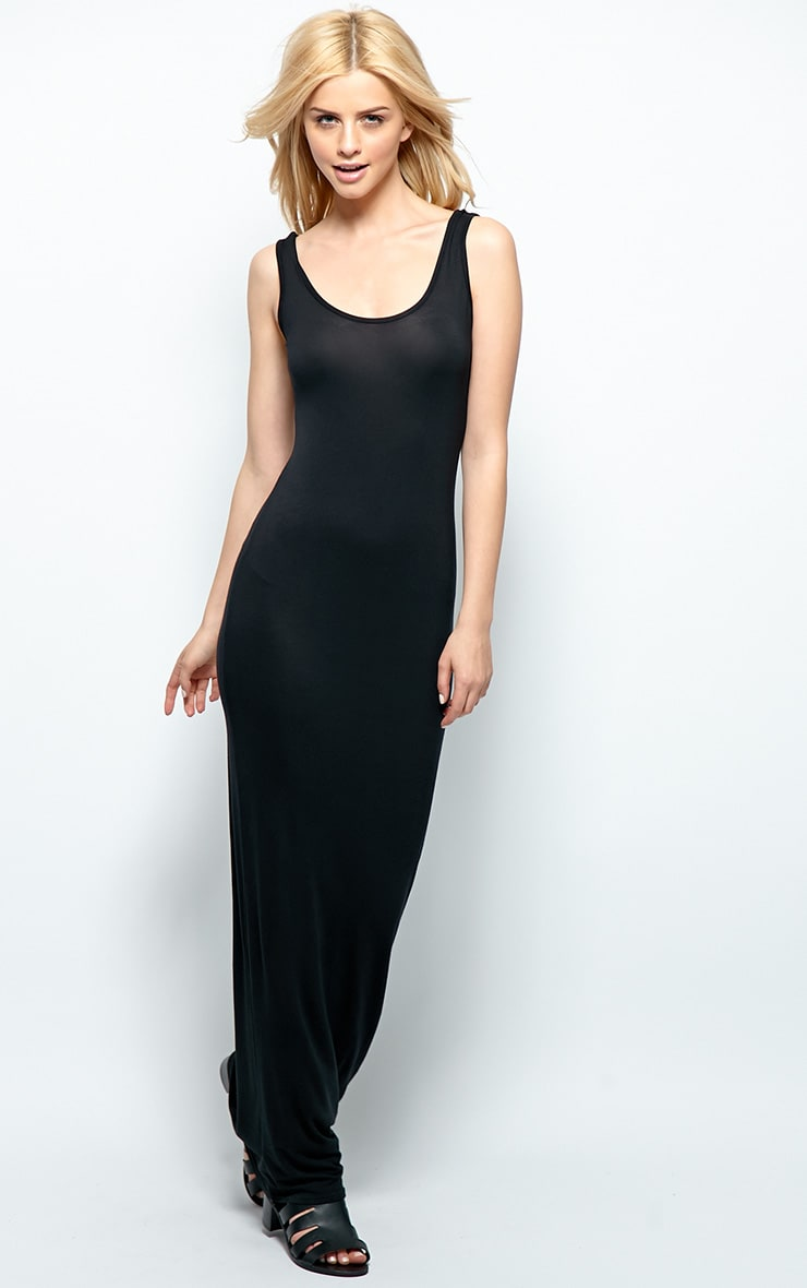 Zoe Black Jersey Maxi Dress 1
