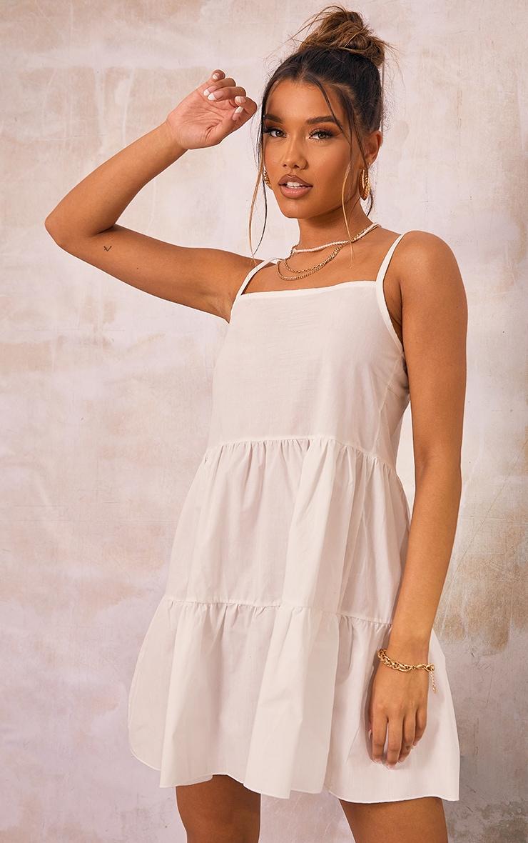 White Cotton Poplin Tiered Strappy Smock Dress 3