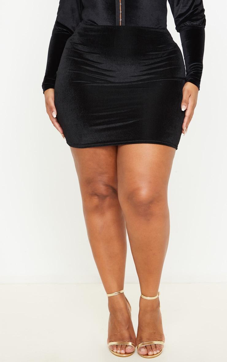 Plus Black Velvet Stripe Mini Skirt 2