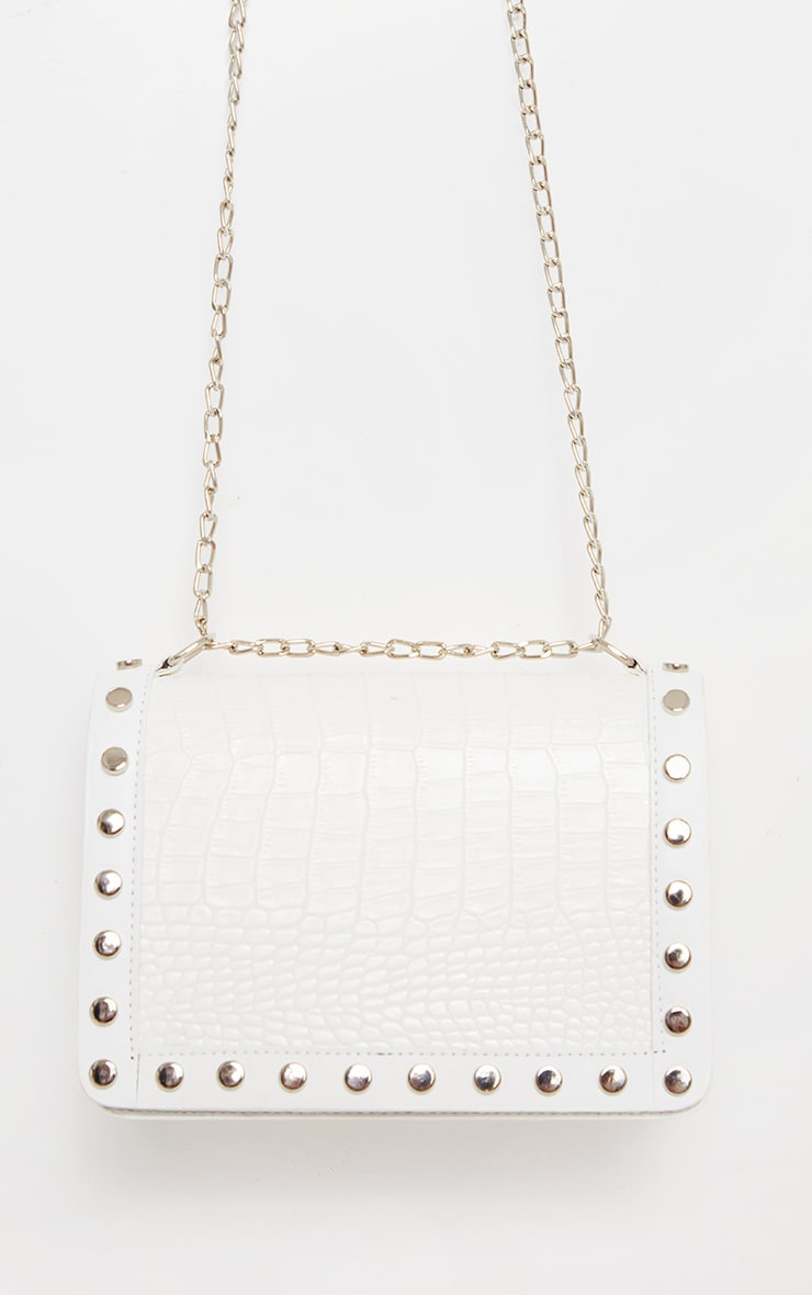 White Studded Croc Cross Body Bag 2