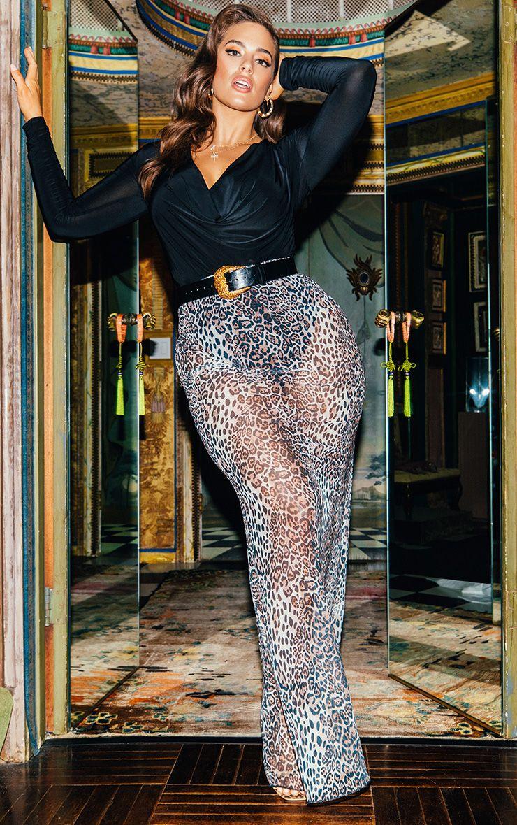 Leopard Print Mesh Maxi Skirt 1
