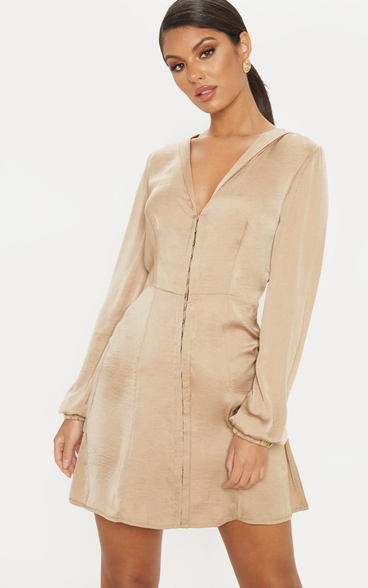 Taupe Satin Hook & Eye Shift Dress 1