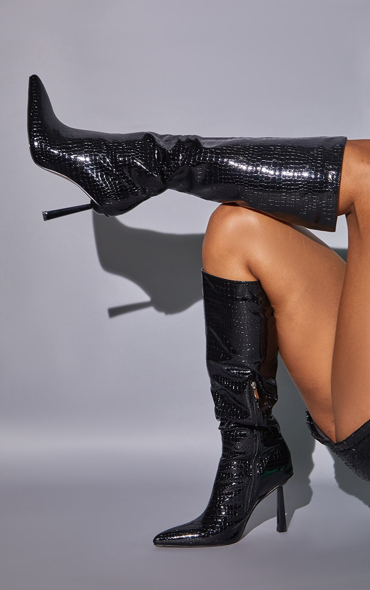 Black PU Croc Pointed Knee Boots 2