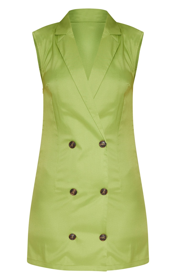 Lime Sleeveless Tortoise Button Detail Blazer Dress 3