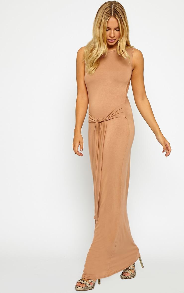 Annie Camel Tie Front Maxi Dress 3