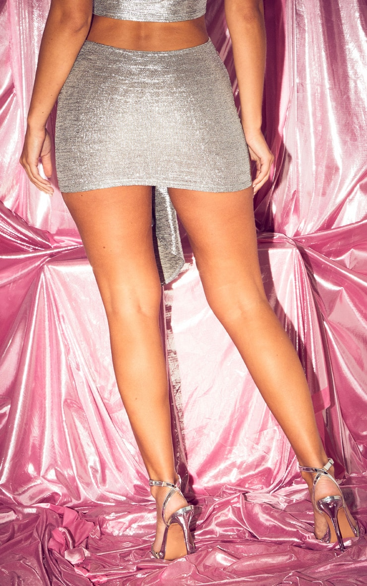 Silver Metallic Ruched Side Mini Skirt 5