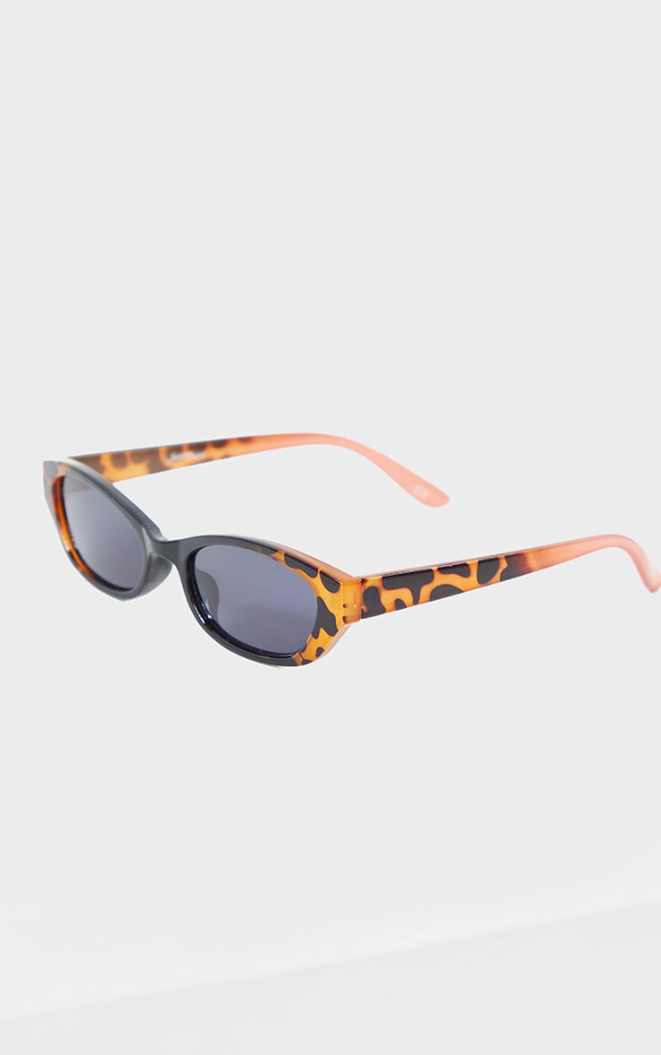 Jeepers Peepers Black With Leopard Slimline Sunglasses 2