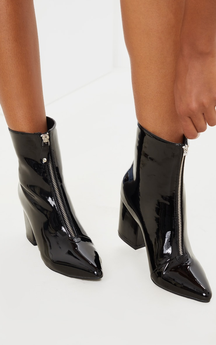 Black Point Toe Zip Front Block Heel Ankle Boot 2
