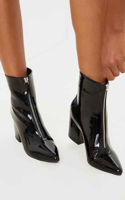 Black Point Toe Zip Front Block Heel Ankle Boot