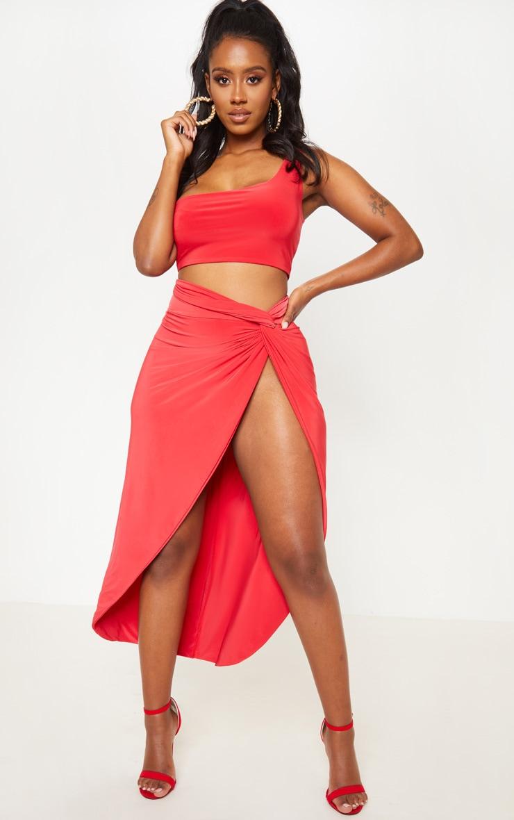 Shape Red Knot Front Split Maxi Skirt 1