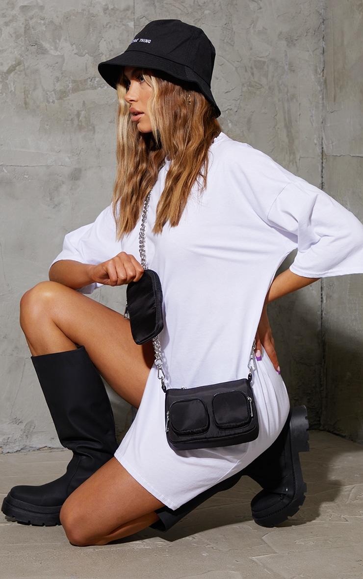 Black Nylon Silver Chain Multi Pocket Cross Body Bag 1