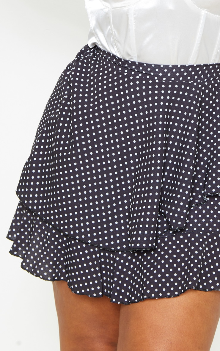 Plus Black Polka Dot Frill Detail Mini Skirt  6