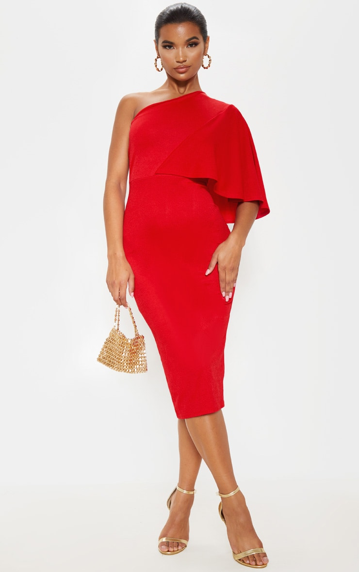 Red One Shoulder Cape Midi Dress 1