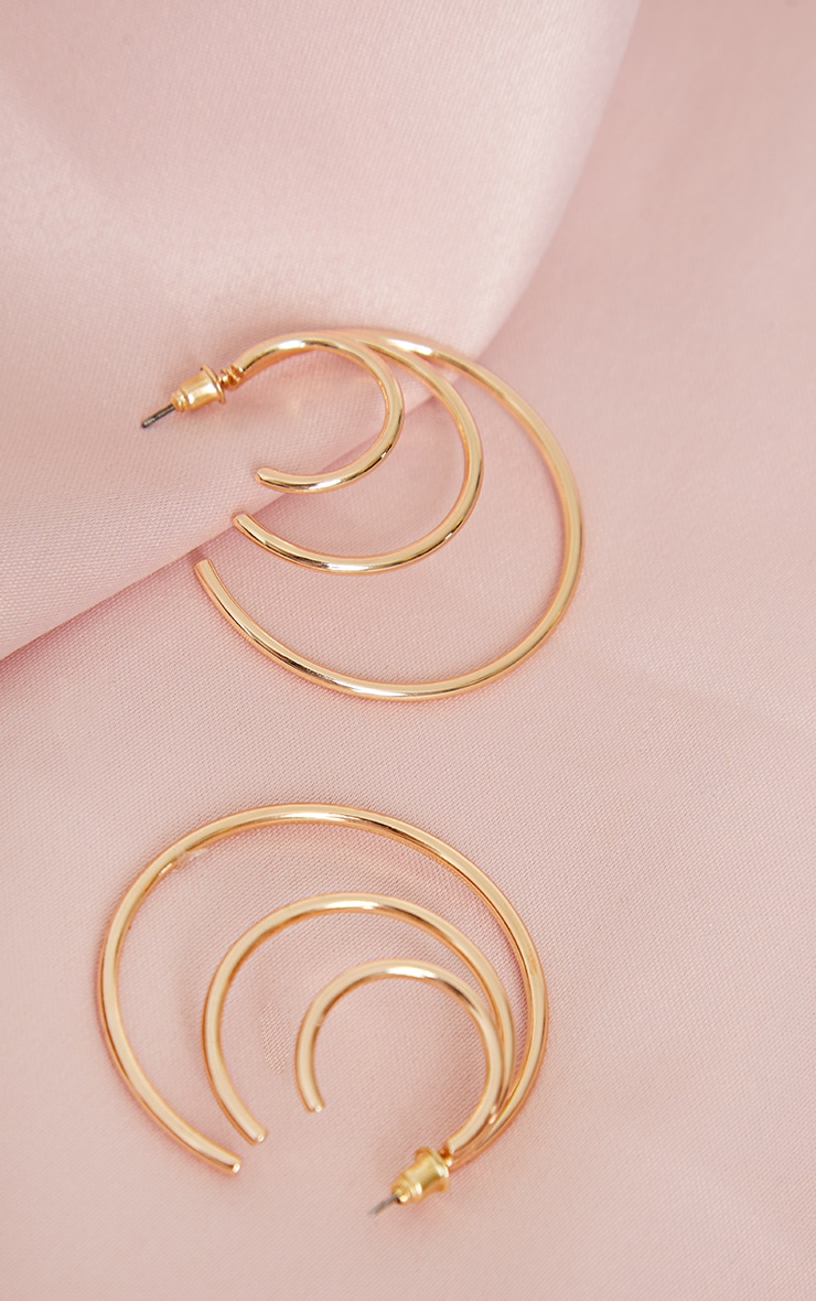 Gold Triple Layered Hoop Earrings 3