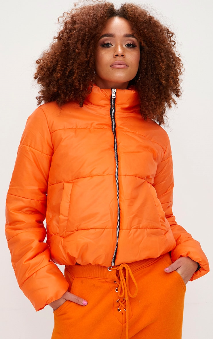 Orange High Shine Cropped Puffer Jacket 1