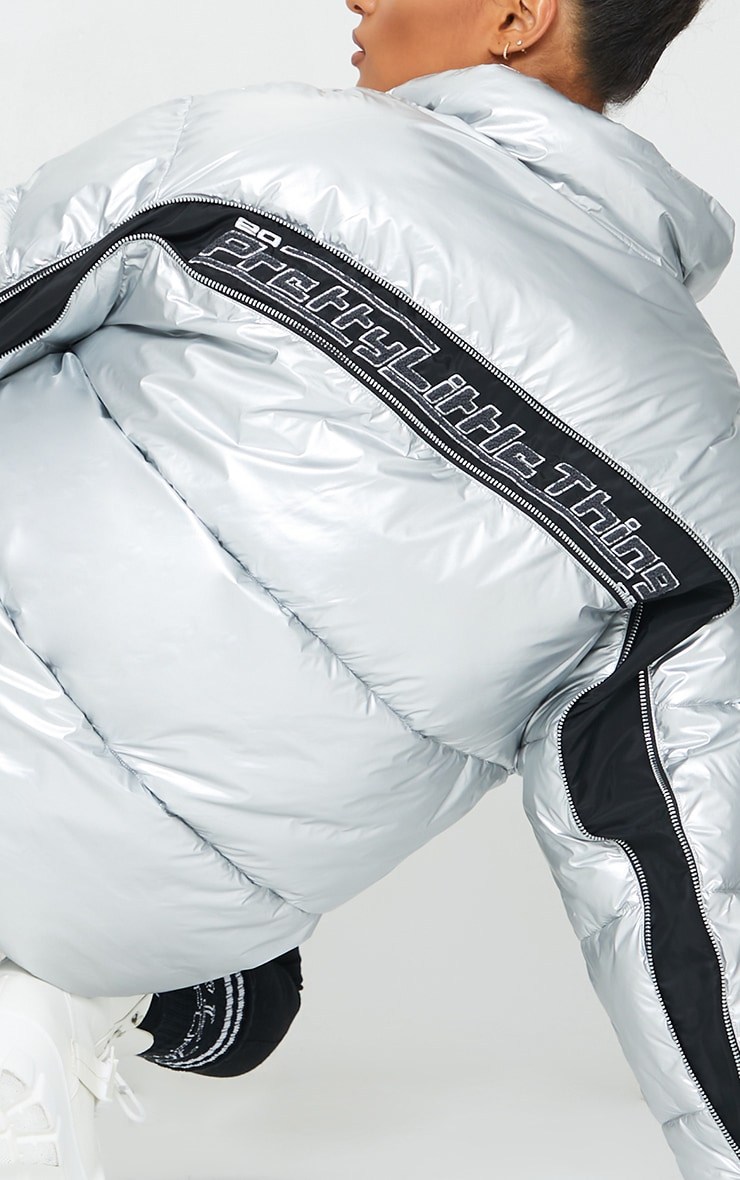 PRETTYLITTLETHING Silver Zip Back Oversized Puffer Jacket 4
