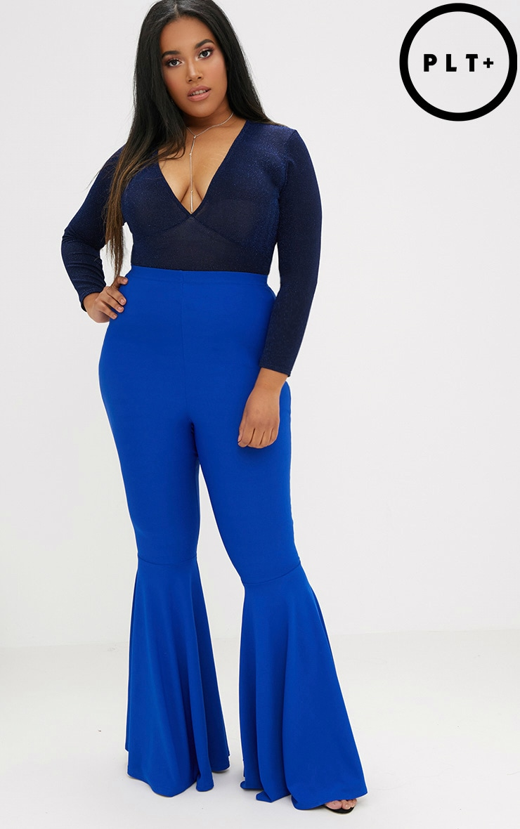 Plus Cobalt Fit and Flare Leg Trousers