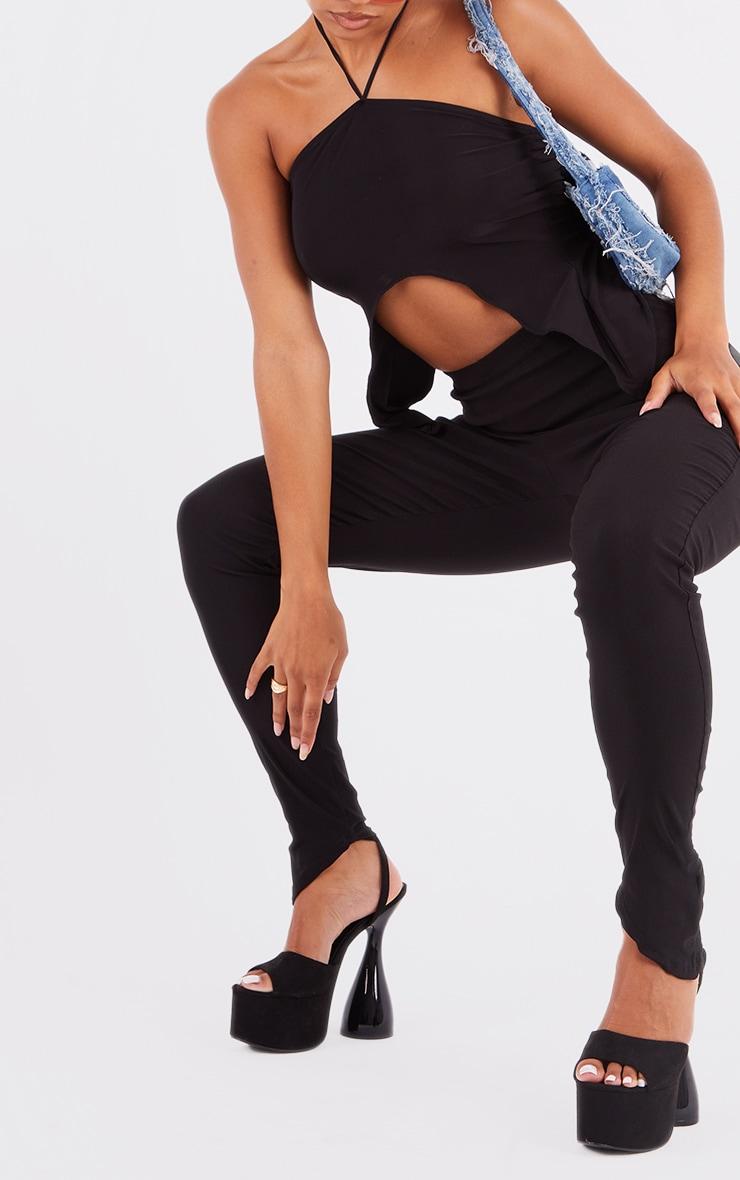 Black Bengaline Asymmetric Hem Leggings 4