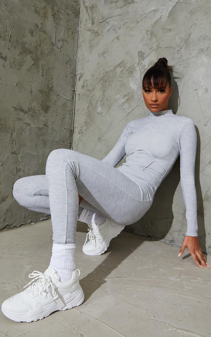 Grey Marl Soft Rib Binding Detail High Neck Jumpsuit 1