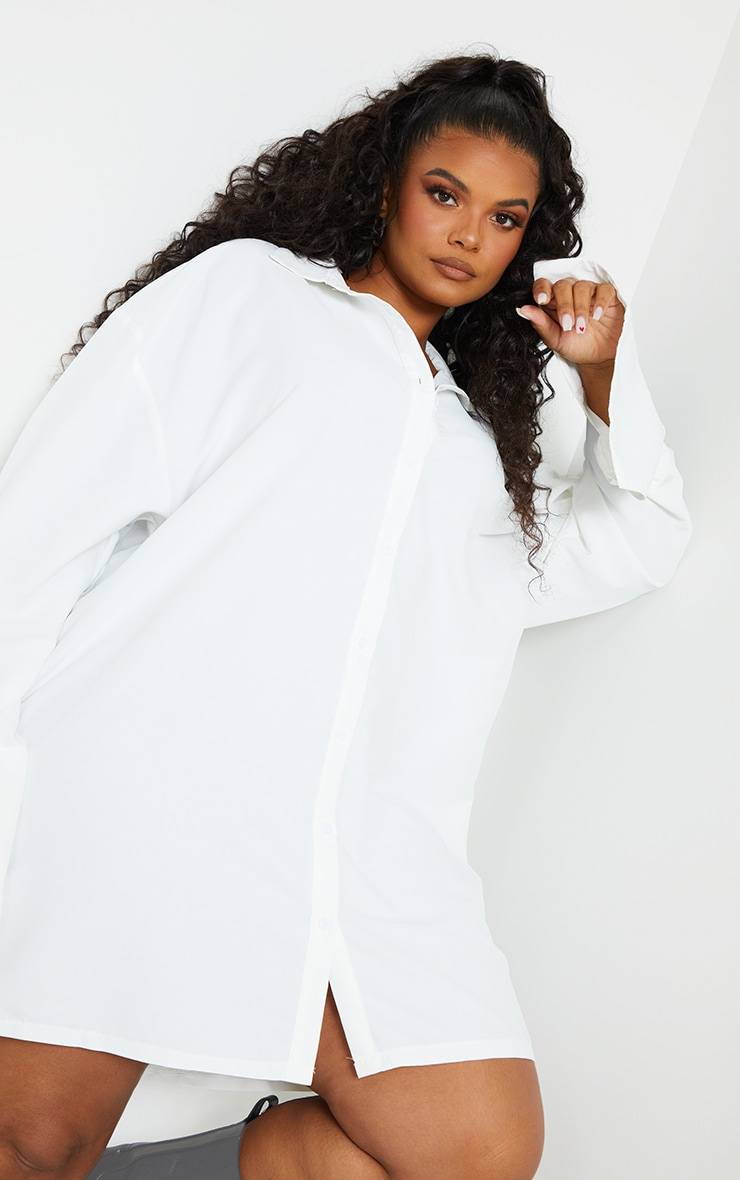 Plus White Plain Oversized Shirt Dress 4