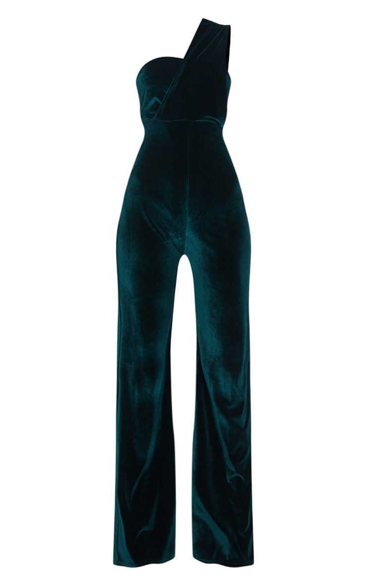 Emerald Green Velvet Drape One Shoulder Jumpsuit 3