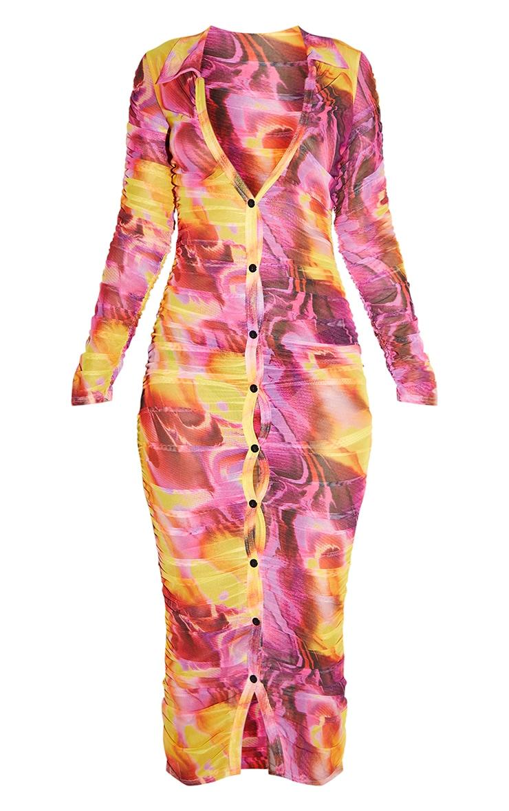 Petite Brown Tiger Print Ruched Mesh Midi Dress 5